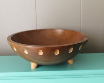 Mid Century Wooden Bowl // 60s Salad or Fruit Bowl // Bowl with cutouts and feet