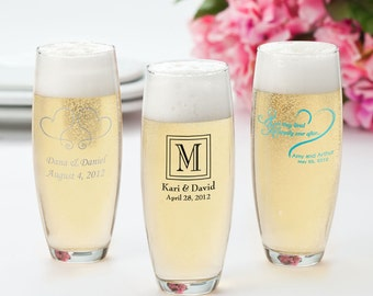 Personalized Wedding Favor - Monogram Campagne Flutes - Stemless Champagne Flute Set (182 Set of 24) - GC182
