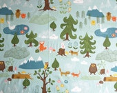 Fabric pale blue forest and Animals fabric Cotton Fabric Kids Fabric Scandinavian Design Scandinavian Textile