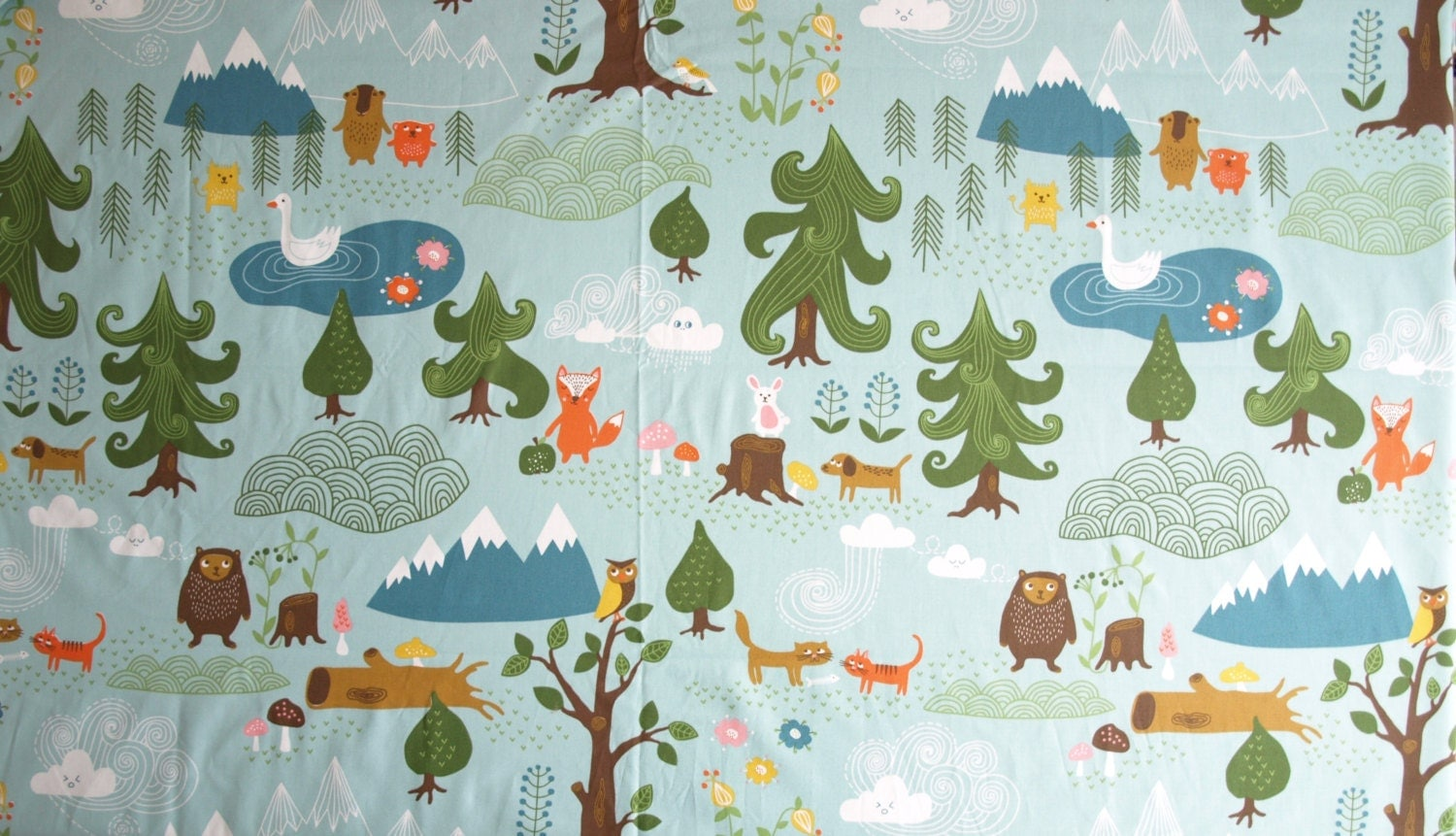 Fabric pale blue forest and animals fabric cotton fabric for Childrens animal fabric