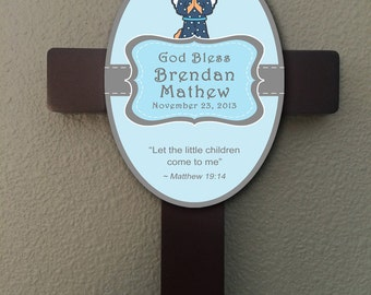 Personalized Christian Cross With Bible Verse - Boy Baptism Gift