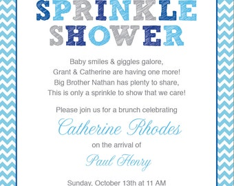 Blue Baby Sprinkle Shower Invitation / Blue Grey Girl Chevron / Umbrella / Printable / Sprinkle Shower