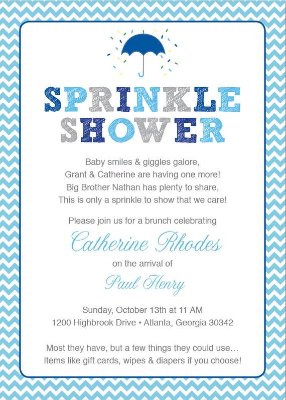 Blue Baby Sprinkle Shower Invitation Blue Grey Girl Chevron