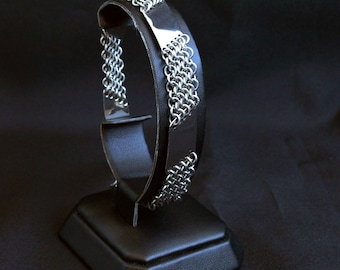 Knight's Bracelet - Stainless Steel Chainmail and Plate Bracelet