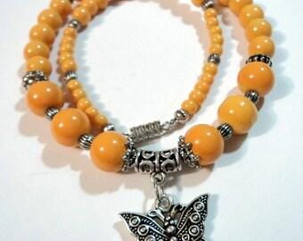 Handmade, Hippie, Boho, Gypsy, Yellow, Glass, Beaded, Butterfly, Necklace