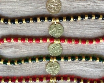 Gold and Colored Glass Bead Pirate Doubloon Necklace (Pirate, Pirates of the Caribbean