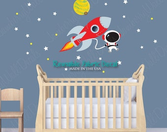 Rocket Decal, Space Wall Decal, Planet With Moon, Stars (Mini Rocket Mission