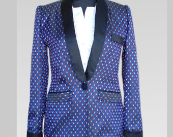 Ladies blazer in the tuxedo style in Krawatenmuster US GR. 10