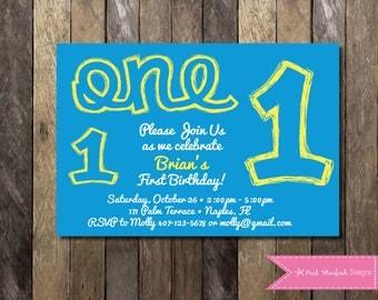 PRINTABLE Birthday Invitation - 1st Birthday Invitation - Boys Girls Birthday Party 4x6 or 5x7