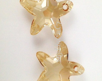 6721 GOLDEN SHADOW 16mm Swarovski Crystal Starfish Pendant, Beach Sand Sea