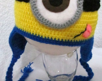 Super Cool One Eyed Minion Knitted Hat (Despicable Me) All sizes!