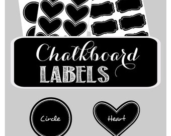 24 Chalkboard Labels for Mason Jars - Vinyl Chalkboard Labels -Small Chalkboard Labels -Mini Chalkboard Labels -Blackboard Stickers (EB3025)