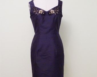 1950s Inspired Shift Dress with lace and beading, Size 12.