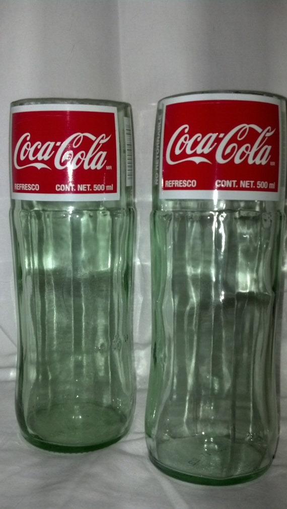 2 mexican coke bottles cut and made into drinking by for Alcohol bottles made into glasses