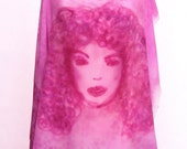 Hand painted silk fabric in fuchsia, violet and pink, with a female face and lace pattern. Fabric for blouse. - DorSilk