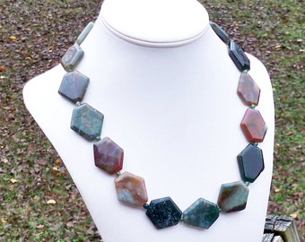 Jasper Necklace Colorful Gemstone Necklace Unique Gemstone Necklace Geometric Necklace Chunky Necklace 30mm Large Gemstone Necklace Jasper