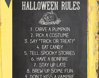 Halloween Wall Art Print  Halloween Decoration Printable  ~ Halloween Rules