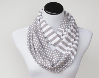 Infinity scarf, gray white polka dots and stripes scarf - circle scarf loop scarf, gift idea for her - gift for women and teen girls
