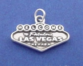 WELCOME To Fabulous LAS VEGAS Charm, Nevada Sign .925 Sterling Silver Charm