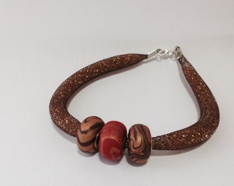 Tubular Mesh Bracelet with Pandora beads handmade in polymer clay
