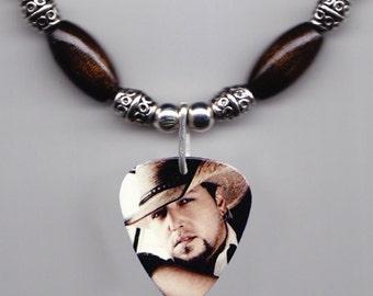Jason Aldean Photo Guitar Pick Necklace - Dark Brown Beads