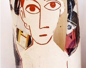 Picasso ceramic vase approximately 25cm tall using sgraffito and ceramic transfer decoration