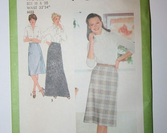 Simplicity 9070 Misses Skirt in Three Lengths - Misses Sizes 18 & 20 - vintage