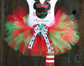 Personalized Christmas Tutu outfit with Bling and Bows