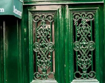 Paris photography, Green Door, Paris Decor, French Decor, Wall Art, Interior Decor, Kelly Green, Ile St Louis