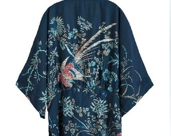 Lost in Kyoto collection Japanese dark blue floral kimono robe outwear Limited Edition.