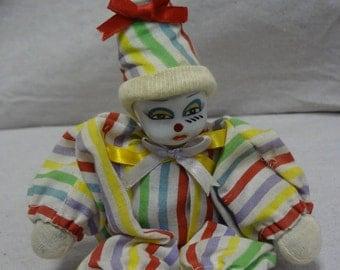 Porcelain Face Striped Clown - E0033