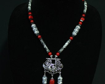 Red Coral and Grey Magnesite with a pendant of birds