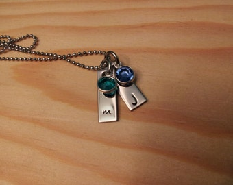 Hand Stamped Mom Necklace Personalized Necklace with Kids Initials and Birthstones