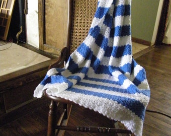 Blue & White Baby Blanket / Afghan