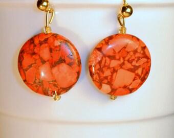 SALE NOW 15% OFF Orange and Brown Earrings