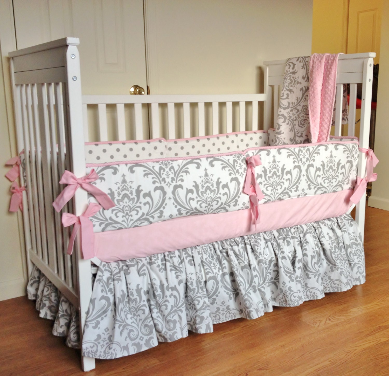 Crib bedding baby girl bedding set pink gray damask by Baby girl bedding