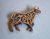 Celtic Bull Brooch or Pendant in Bronze