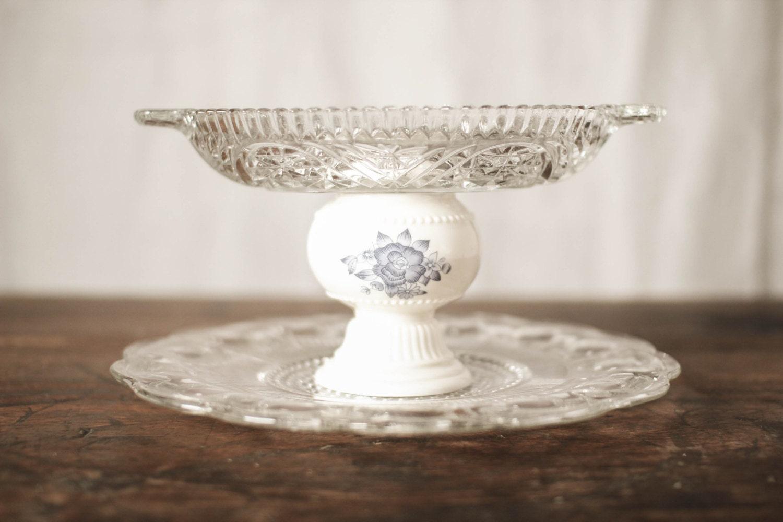 Vintage glass wedding centerpiece jewlery holder