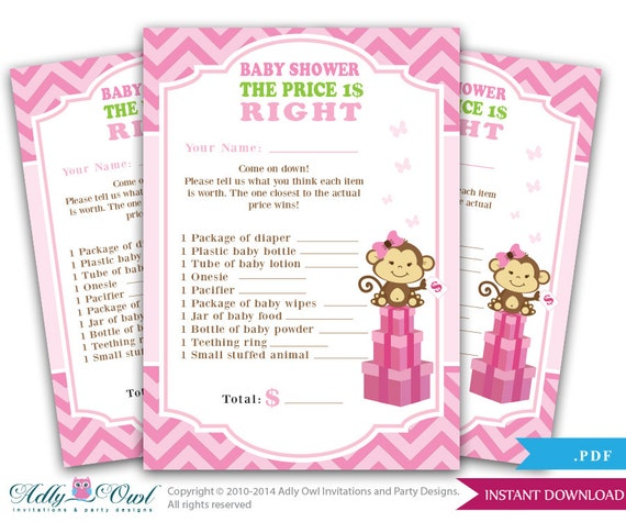 Girl Monkey Price Is Right Baby Shower Game Card For A Girl
