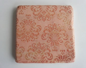 Orange and peach Floral Tumbled Marble Coaster; Set of 4
