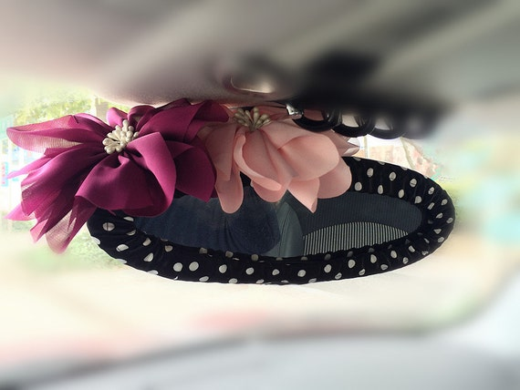 Black and white polka Dots Rear View Mirror Cover with chiffon flowers, Unique Automobile Accessories, Car Decor, Automobile rearview cover