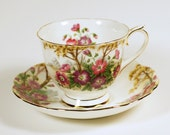 "Vintage Royal Albert ""Wild Geranium"" Footed Teacup and Saucer Set - TateVintageShop"