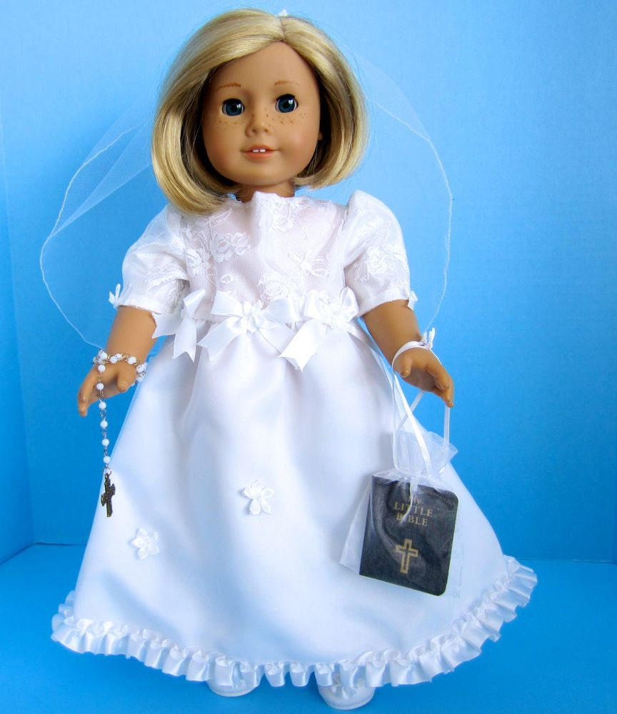 american girl doll first communion dress with by sewspecialbybarb. Black Bedroom Furniture Sets. Home Design Ideas