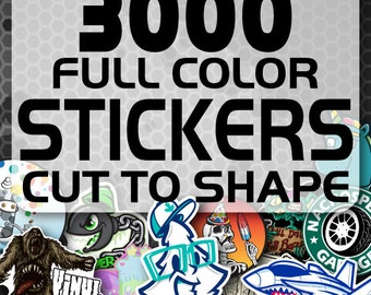 3000 Custom Vinyl Stickers - Promotional Stickers - Choose your shape - Laminated Stickers - Not Paper Stickers