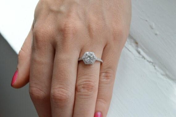 Assez 14 k diamants taille brillant Solitaire bague hexagone Halo II82