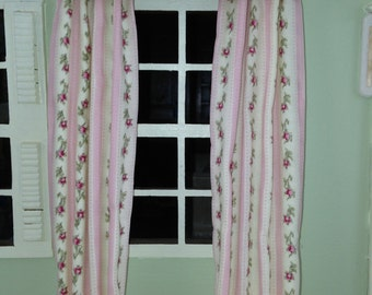 pink and white striped rosebud fabric curtains and valance