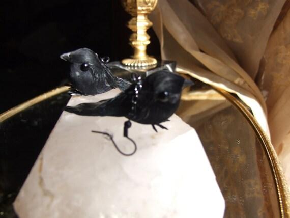 poe statement earrings black bird statement