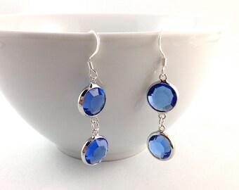 Blue Glass Earrings, Wedding Jewelry, Wedding Earrings, Bride Earrings, Bridal Jewelry, Bridesmaid, Mother of the Bride, Glass Earrings