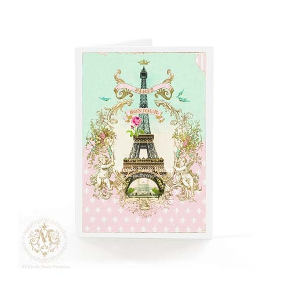 Eiffel Tower Greeting Card Bonjour From Paris By Mulberrymuse