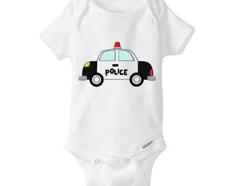 POLICE CAR Personalized Custom Embroidered Baby Girl Onesie, embroidered onepiece, baby undershirt, unisex baby